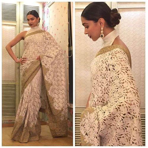 Deepika Beige Netted Heavy Work Designer Saree