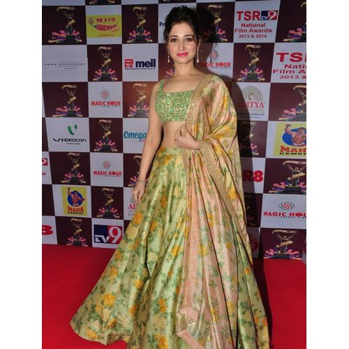 Green Colour Floral So Beautiful Tamannah Style Bollywood Lehenga Choli