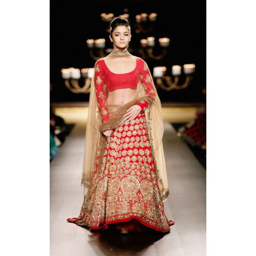 Alia Bhatt red embellished bollywood lehenga choli