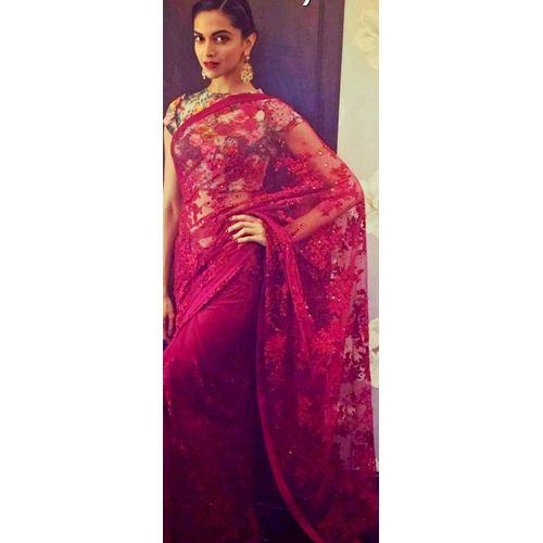 Deepika Padukone Red Net Saree