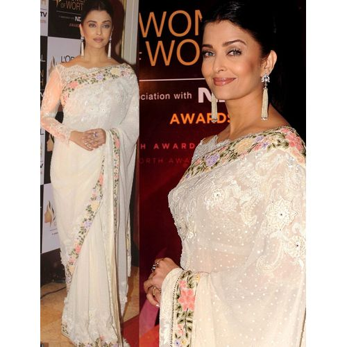Aishwarya Rai White Georgette Saree