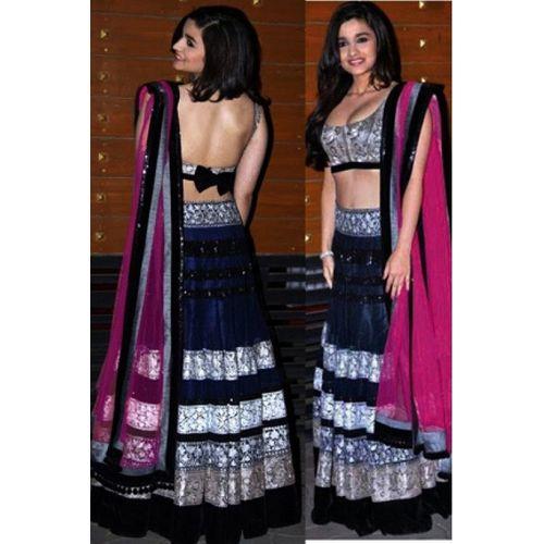 Alia Bhatt Navy Blue Semi-Stitched Lehenga