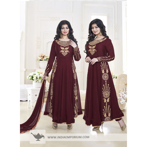 Ayesha Takia Maroon Embroidered Anarkali Suit