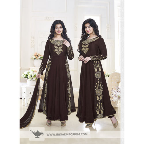 Ayesha Takia Brown Georgette Anarkali Suit with Embroidery Work