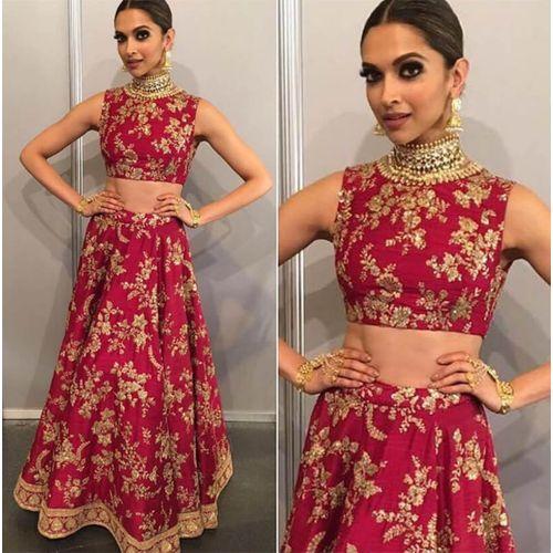 Pink Color Embroidered Designer Deepika Padukone Lehenga Choli