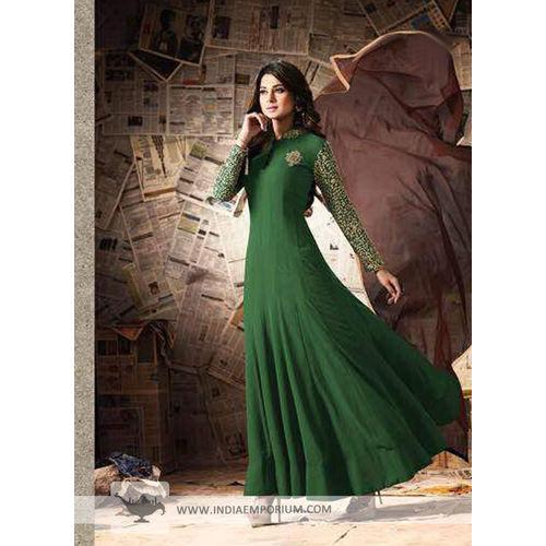 Ayesha Takia Bottle Green Ebmroidery Anarkali Suit