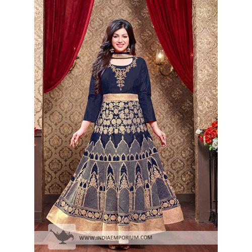 Ayesha Silk Navy Blue Zari Work Anarkali Suit