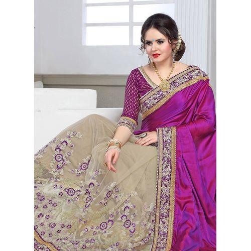 Purple & Beige Embroidered Saree