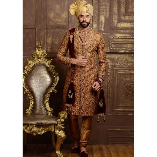 Jacqurd & Silk Maroon Sherwani