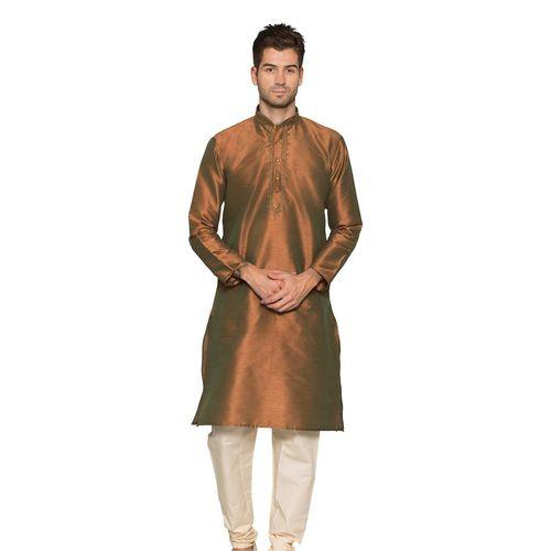 Brown & Off White Churidar Kurta Pyjama