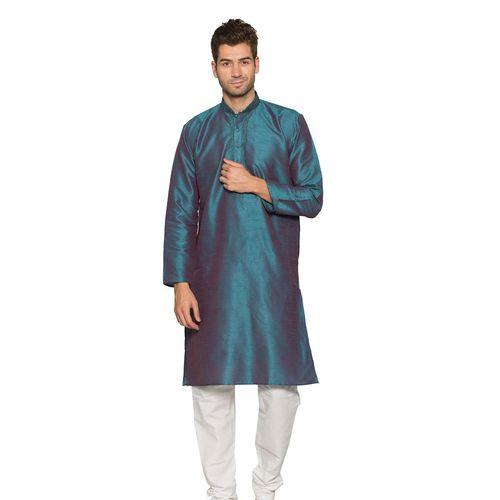 Blue Polysilk Kurta Pyjama