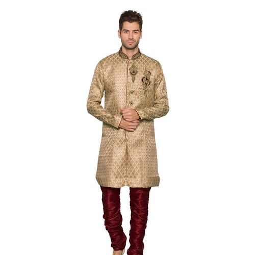Beige & Maroon Jacquard Indo Western Sherwani with Embroidery Work