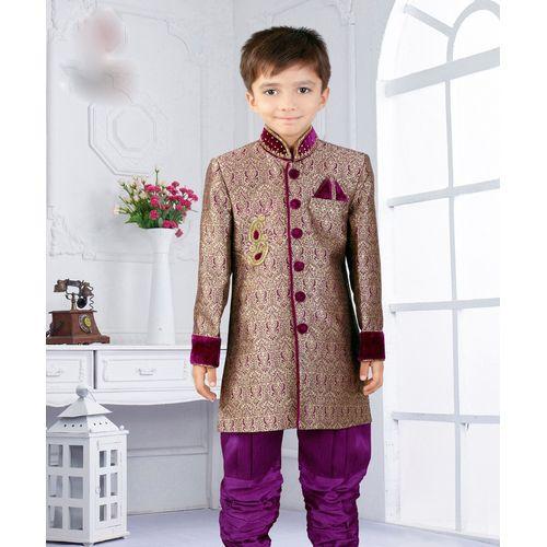 Purple Silk Jacquard Indo Kid's Sherwani