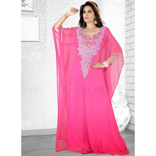 Pink Georgette Farasha Fustan