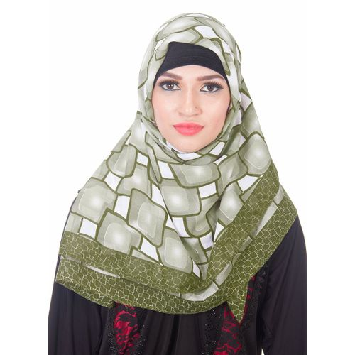 Sage Green And Off White Hijab