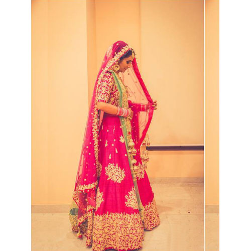 Dark Pink Raw Silk & Net Zarkan Lehenga Choli