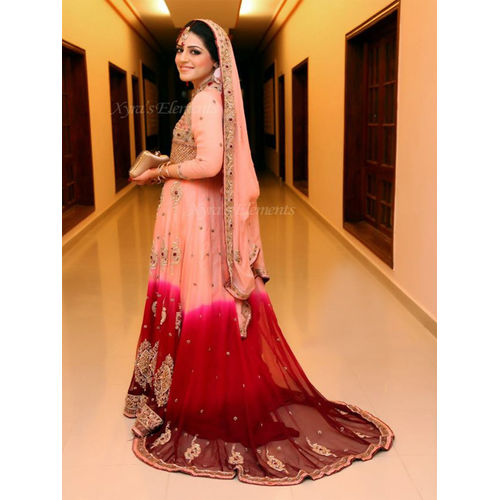 Coral Pink & Maroon Pakistani Style Bridal Long Jacket and Skirt