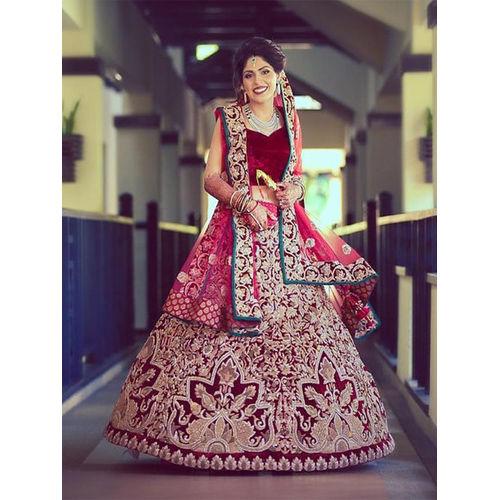 Maroon Panel Style Heavy Bridal Velvet & Net Lehenga Choli
