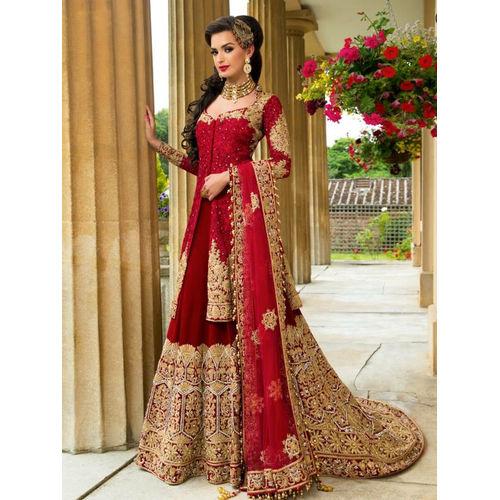 Maroon & Golden Indian Bridal Long Choli Lehenga with Jacket Style
