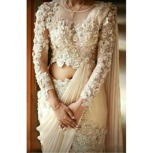 Beige Net Designer Saree