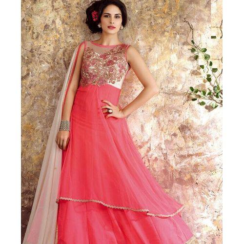 Pink Net & Chiffon Anarkali Suit