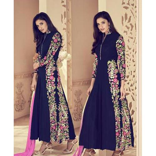 Navy Blue Faux Georgette Anarkali Suit with Embroidery Work