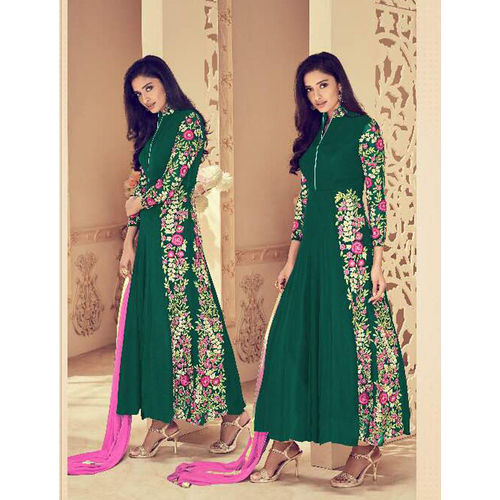 Green Faux Georgette Anarkali Suit with Embroidery Work