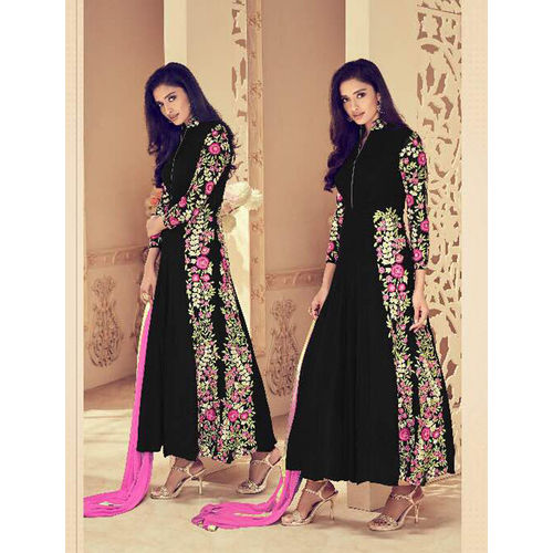 Black Faux Georgette Anarkali Suit with Embroidery Work