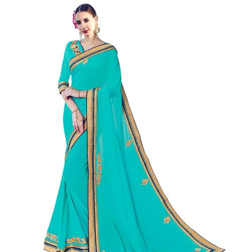 Cyan Blue Georgette Saree with Patch Work