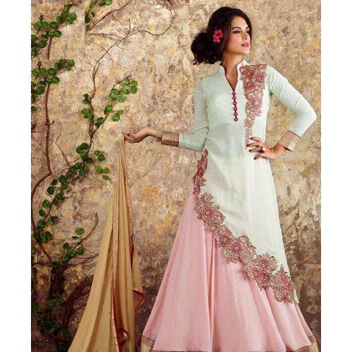 Silk & Cotton Pink and Off White Lehenga Choli