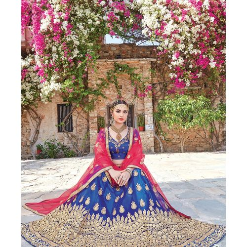 Blue Heavy Embroidery Lehenga Choli