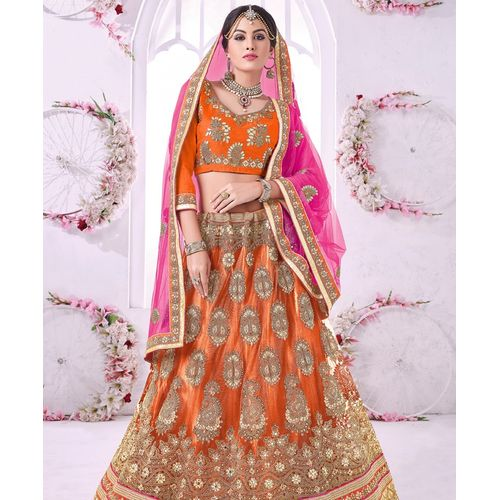 Orange Banglori Silk Lehenga Choli