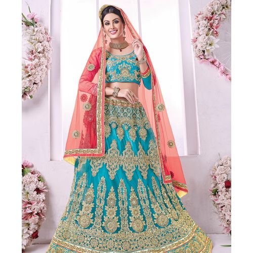 Banglori Silk Sky Blue Embroidered Lehenga Choli