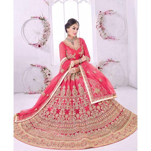 Pink Embroidered BanglorI Silk Lehenga Choli