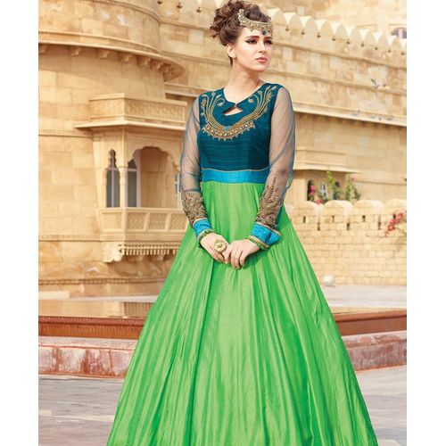 Green & Blue Embroidered Gown