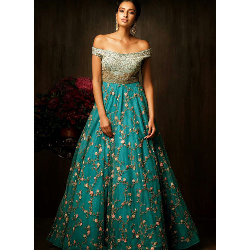 Turquoise Long flare Net & Silk Gown