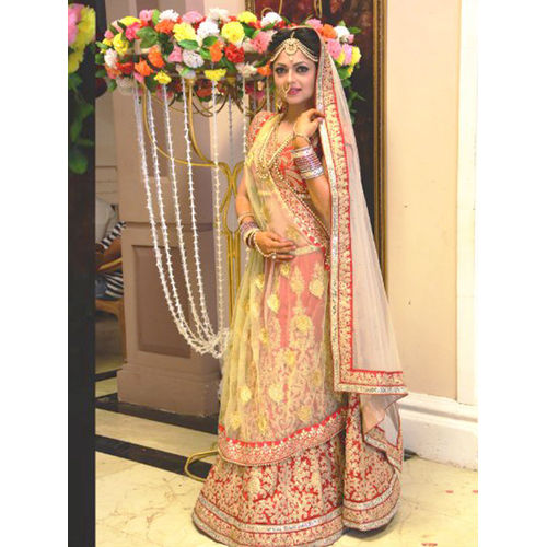 LEMON GREEN AND RED MADHUBALA BRIDAL LEHENGA CHOLI