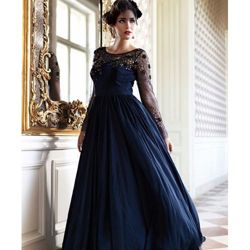 Navy Blue Bhagalpuri Gown