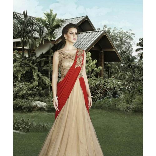 Beige & Red Fancy Gown with Dupatta