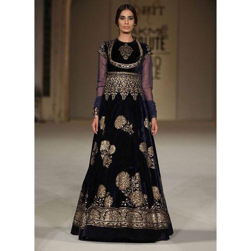 Velvet Blue & Black floor length Gown