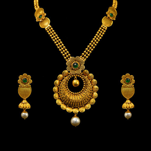Antique Aaram with uncut emeralds & pearls