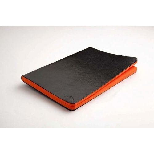 Rubberband 95 X 165 Mm Paint Box Series Saffron Orange Plain Notebook Black Pu And Has 192 Pages
