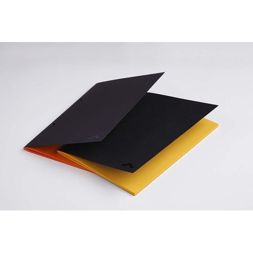 Rubberband A5 Orange And Yellow Plain Notebook Black Card Cover 64 Pages