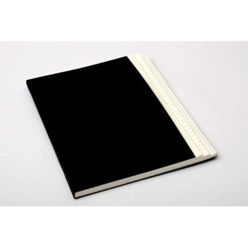 Rubberband Stepped B5 Black Cover Notebook  Three In One Natural Paper - Plain,Ruled And Checks With 144 Pages