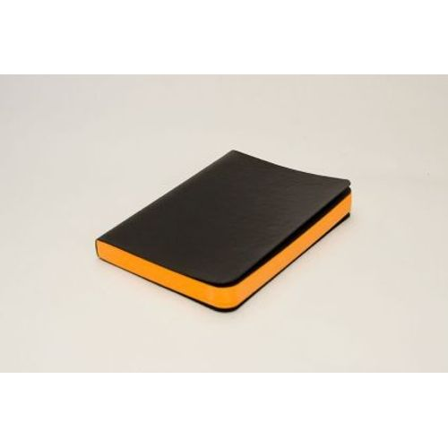 Rubberband A6 Paint Box Series Orange Plain Notebook Black Pu And Has 240 Pages