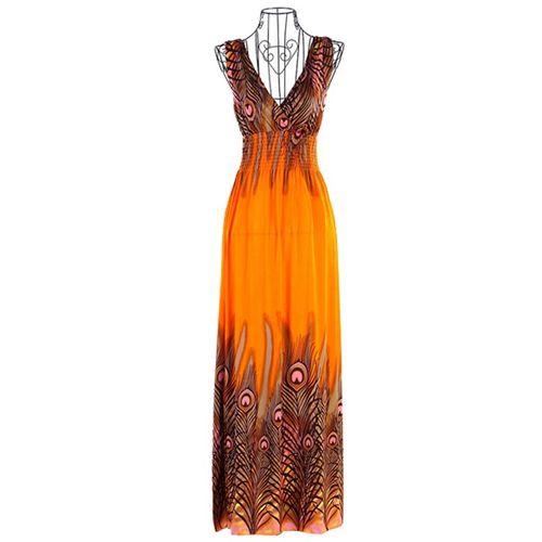 Bohemian peacock tail dress