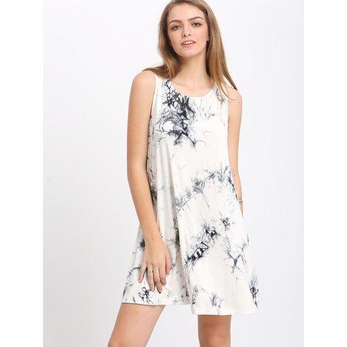 White Ikat Print Dress