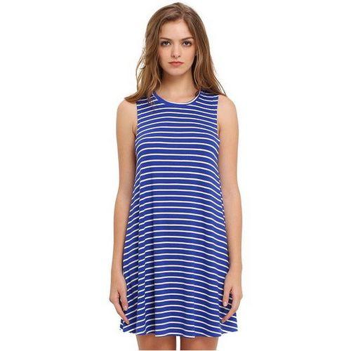 Blue Sleeveless Striped Dress