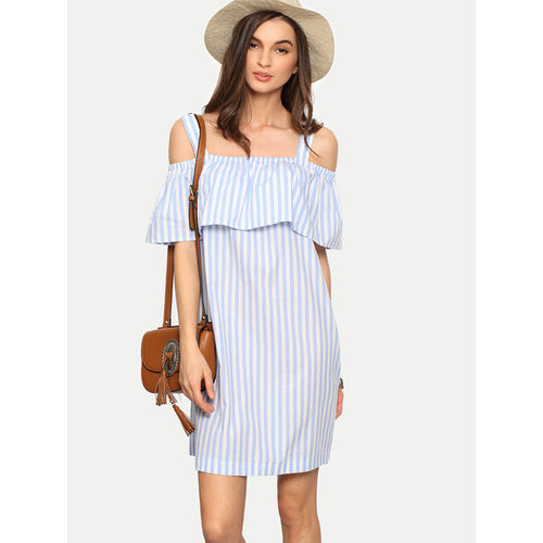 Light Blue Off Shoulder Stripe Ruffle Dress