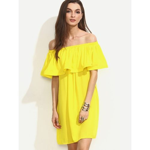 Yellow Ruffle Off shoulder Dress